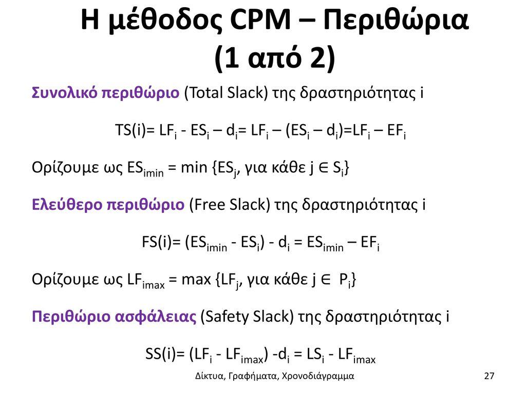 Η μέθοδος CPM – Περιθώρια (1 από 2)