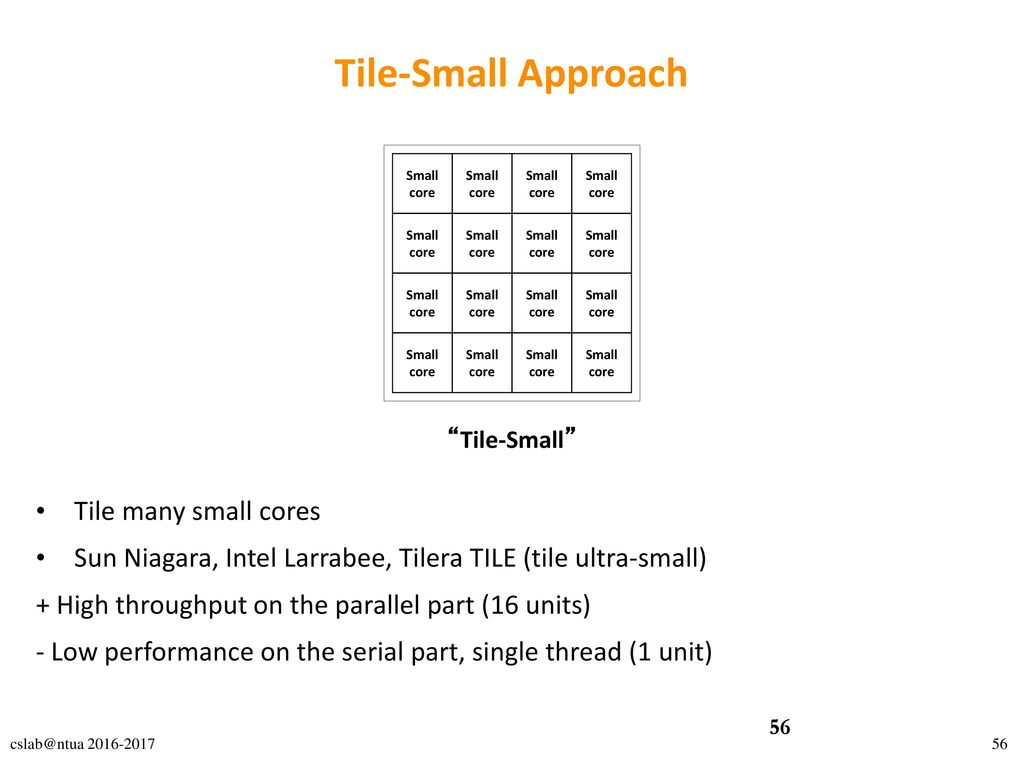 Tile-Small Approach Tile many small cores