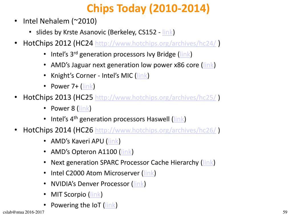 Chips Today (2010-2014) Intel Nehalem (~2010)