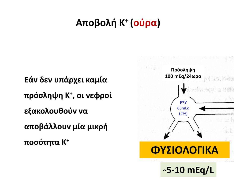 ΦΥΣΙΟΛΟΓΙΚΑ Αποβολή Κ+ (ούρα) ~5-10 mEq/L