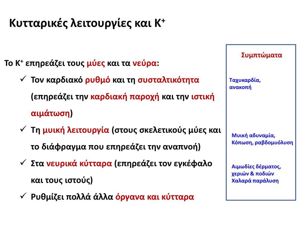 Κυτταρικές λειτουργίες και Κ+