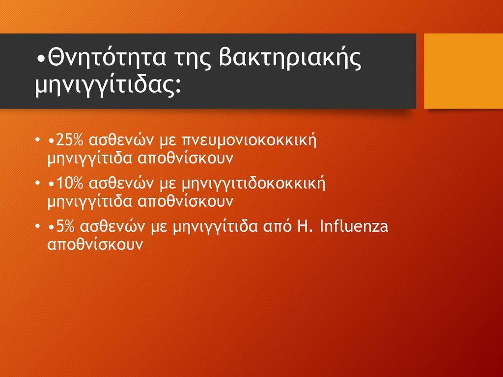 •Θνητότητα της βακτηριακής μηνιγγίτιδας: