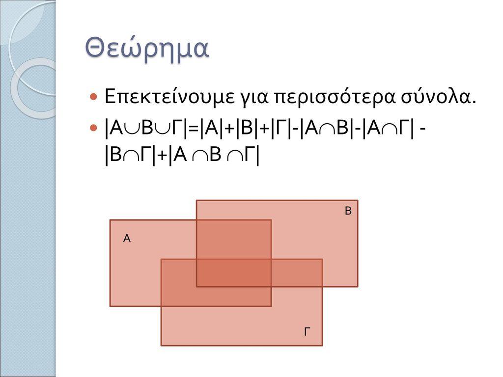 Θεώρημα Επεκτείνουμε για περισσότερα σύνολα.