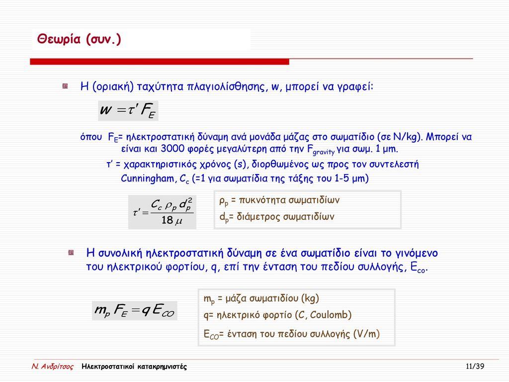 Θεωρία (συν.) Η (οριακή) ταχύτητα πλαγιολίσθησης, w, μπορεί να γραφεί: