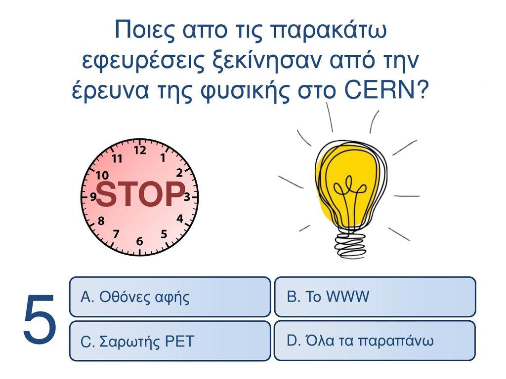 Ποιες απο τις παρακάτω εφευρέσεις ξεκίνησαν από την έρευνα της φυσικής στο CERN
