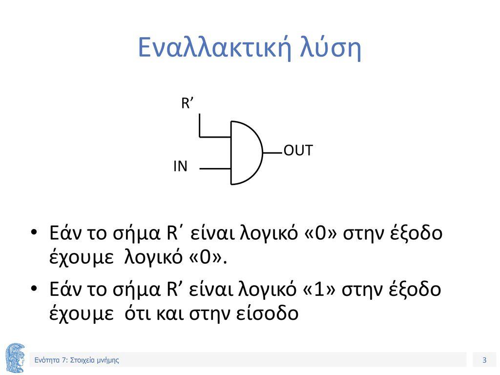 Εναλλακτική λύση OUT. IN. R' Εάν το σήμα R΄ είναι λογικό «0» στην έξοδο έχουμε λογικό «0».
