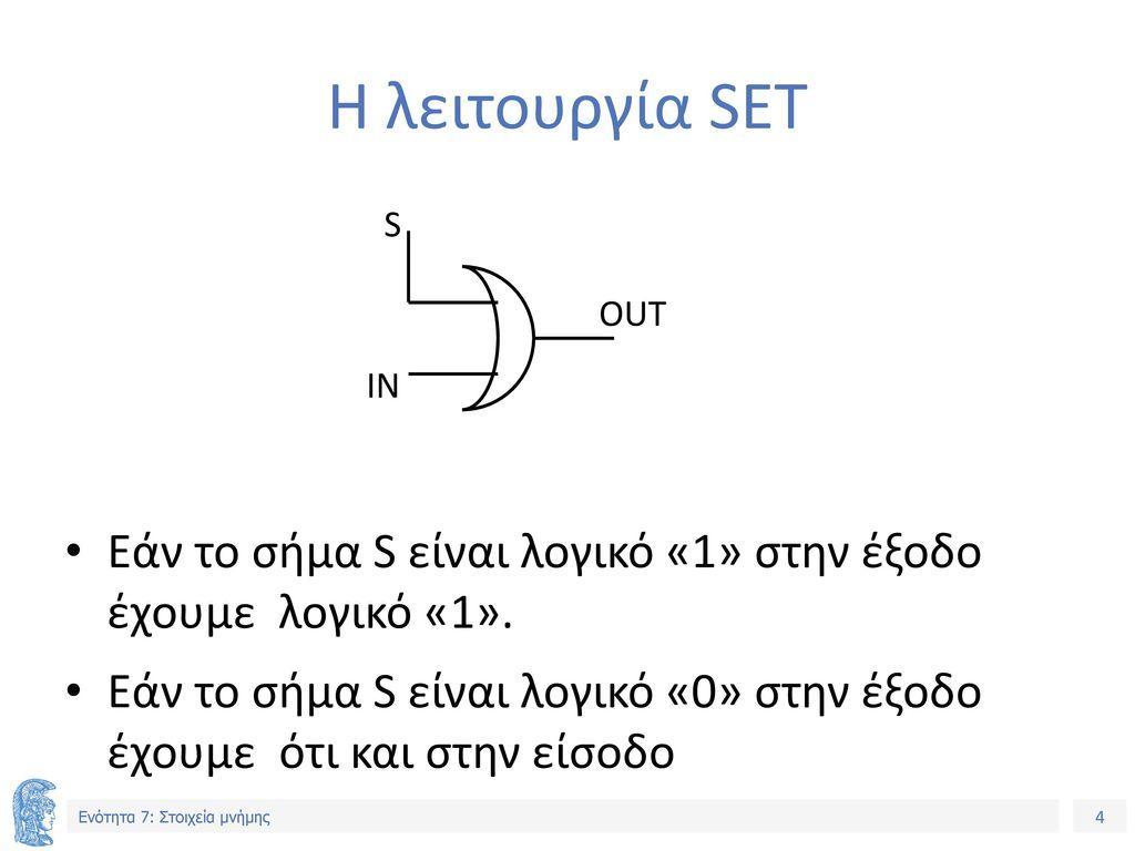 Η λειτουργία SET S. OUT. IN. Εάν το σήμα S είναι λογικό «1» στην έξοδο έχουμε λογικό «1».