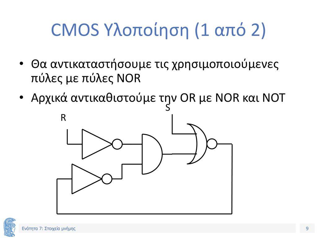 CMOS Υλοποίηση (1 από 2) Θα αντικαταστήσουμε τις χρησιμοποιούμενες πύλες με πύλες NOR. Αρχικά αντικαθιστούμε την OR με NOR και NOT.