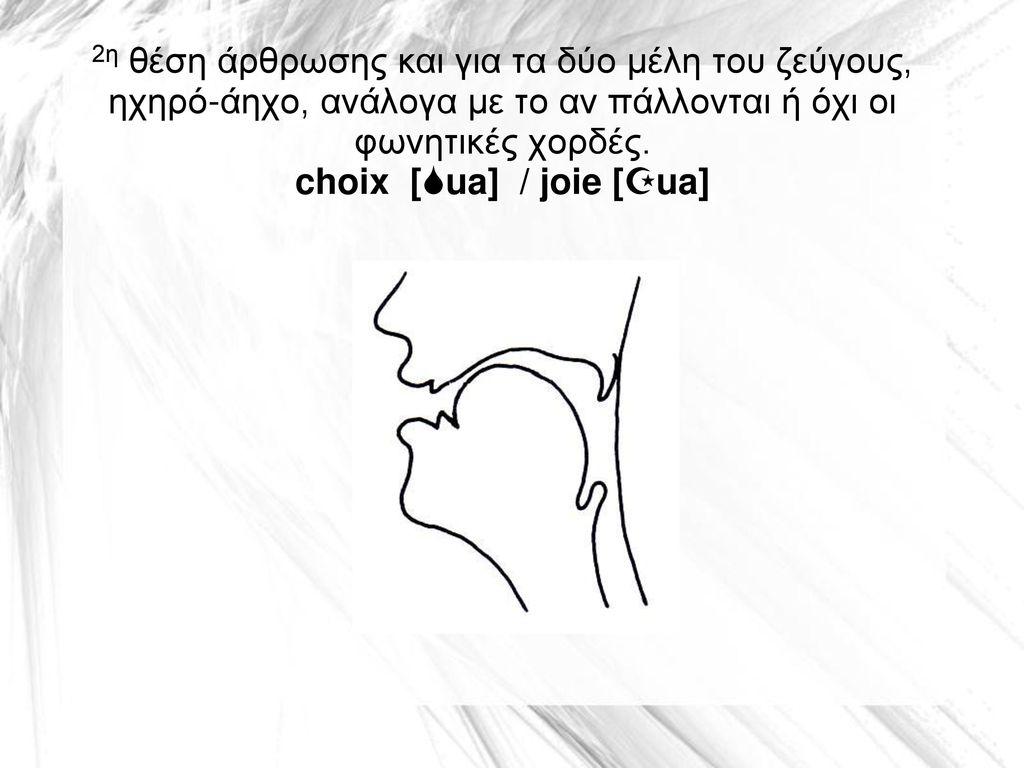 2η θέση άρθρωσης και για τα δύο μέλη του ζεύγους, ηχηρό-άηχο, ανάλογα με το αν πάλλονται ή όχι οι φωνητικές χορδές.