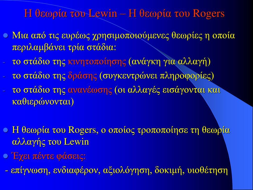 Η θεωρία του Lewin – Η θεωρία του Rogers