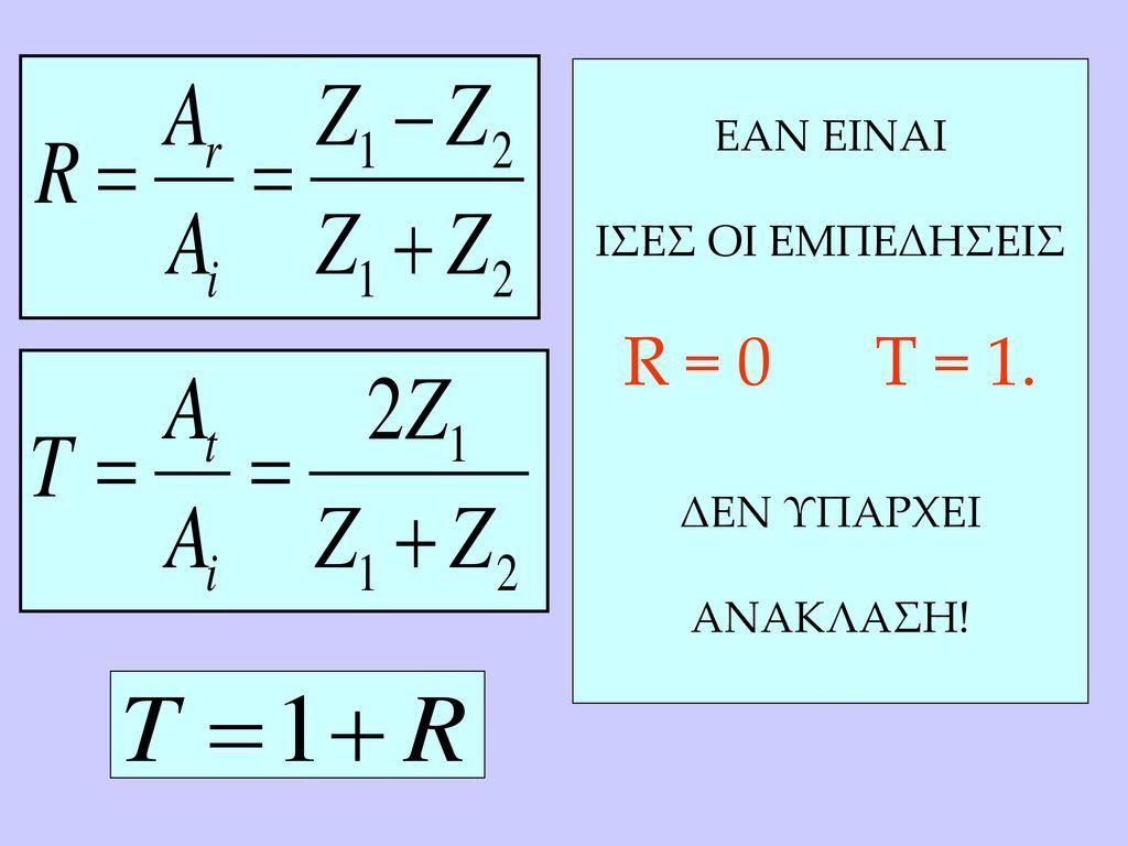 ΕΑΝ ΕΙΝΑΙ ΙΣΕΣ ΟΙ ΕΜΠΕΔΗΣΕΙΣ R = 0 T = 1. ΔΕΝ ΥΠΑΡΧΕΙ ΑΝΑΚΛΑΣΗ!