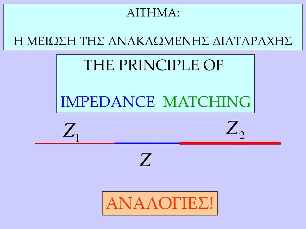 ΑΝΑΛΟΓΙΕΣ! ΤΗΕ PRINCIPLE OF IMPEDANCE MATCHING ΑΙΤΗΜΑ: