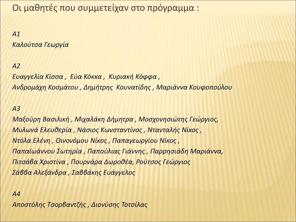 Οι μαθητές που συμμετείχαν στο πρόγραμμα :