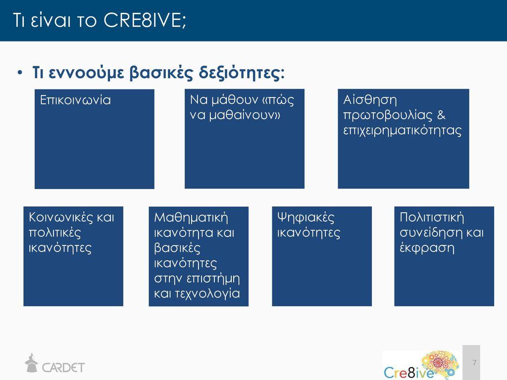 Τι είναι το CRE8IVE; Τι εννοούμε βασικές δεξιότητες: Επικοινωνία