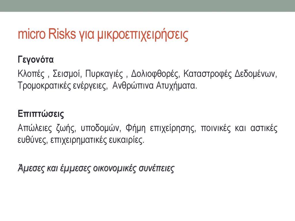 micro Risks για μικροεπιχειρήσεις