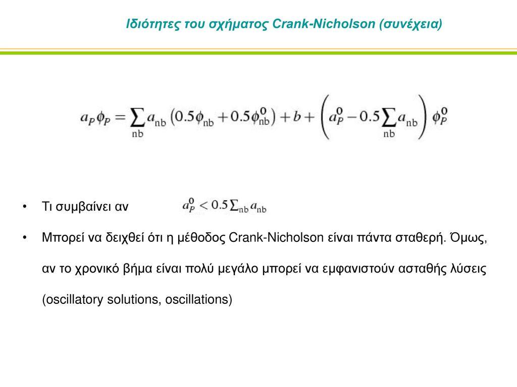 Ιδιότητες του σχήματος Crank-Nicholson (συνέχεια)
