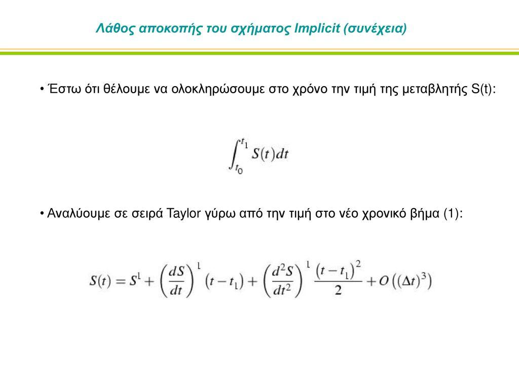 Λάθος αποκοπής του σχήματος Implicit (συνέχεια)
