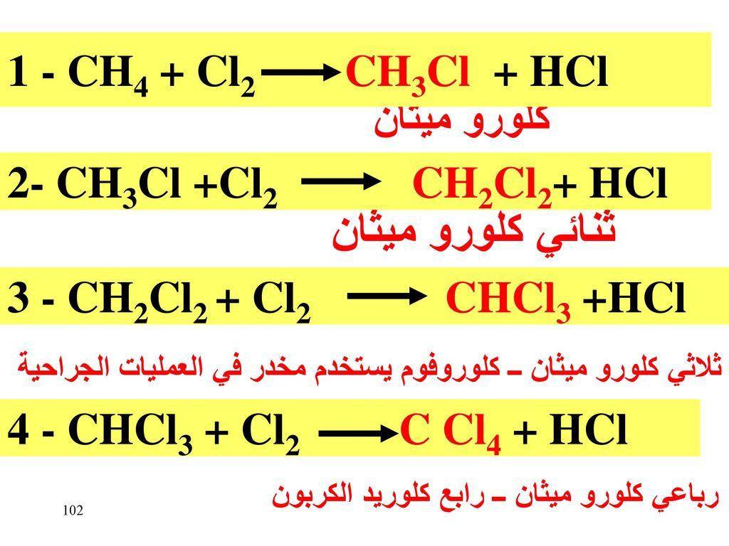 ثنائي كلورو ميثان 1 - CH4 + Cl2 CH3Cl + HCl كلورو ميثان