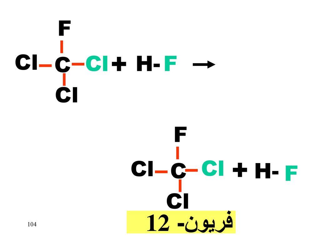 Cl C F + H- Cl C F Cl + H- F فريون- 12