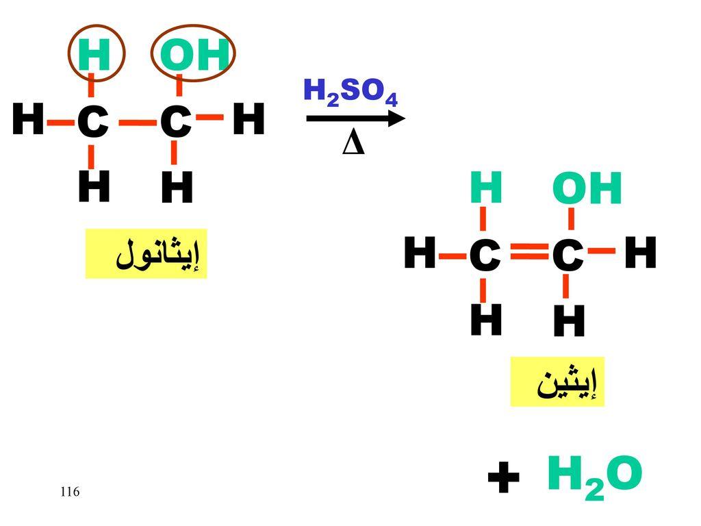 C H OH H2SO4 Δ إيثانول H OH H C C H H H إيثين + H2O