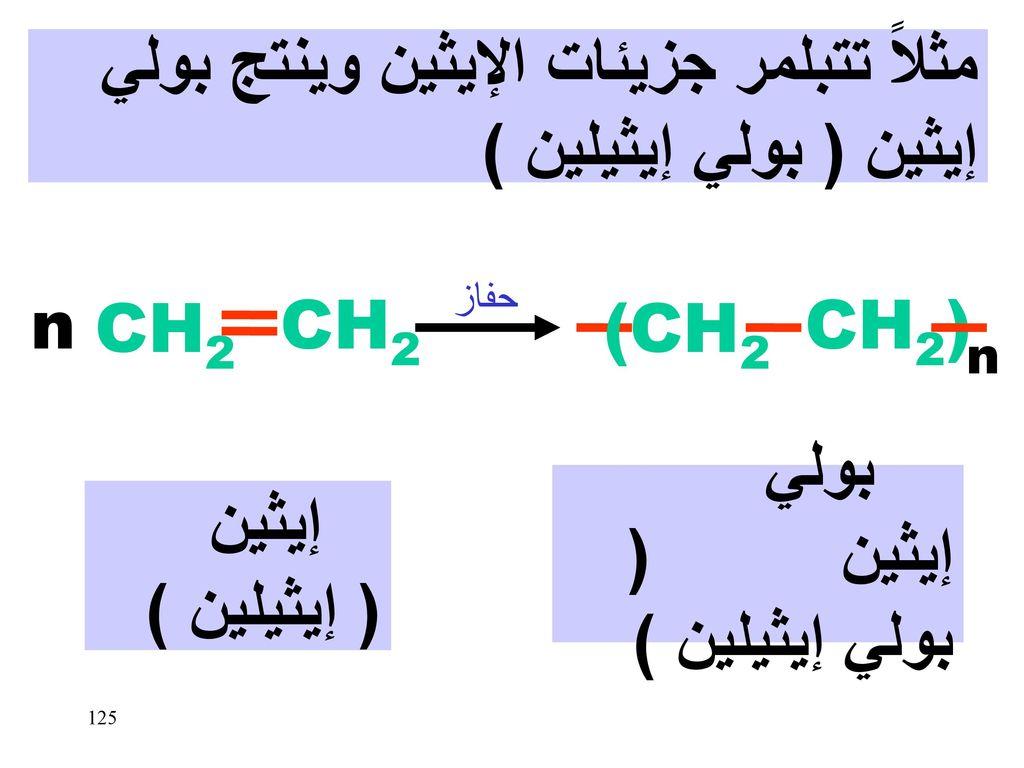 مثلاً تتبلمر جزيئات الإيثين وينتج بولي إيثين ( بولي إيثيلين )