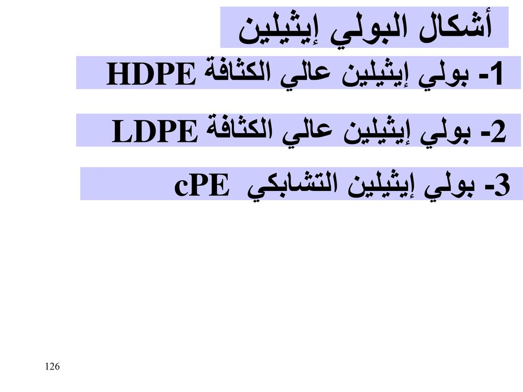 أشكال البولي إيثيلين 1- بولي إيثيلين عالي الكثافة HDPE