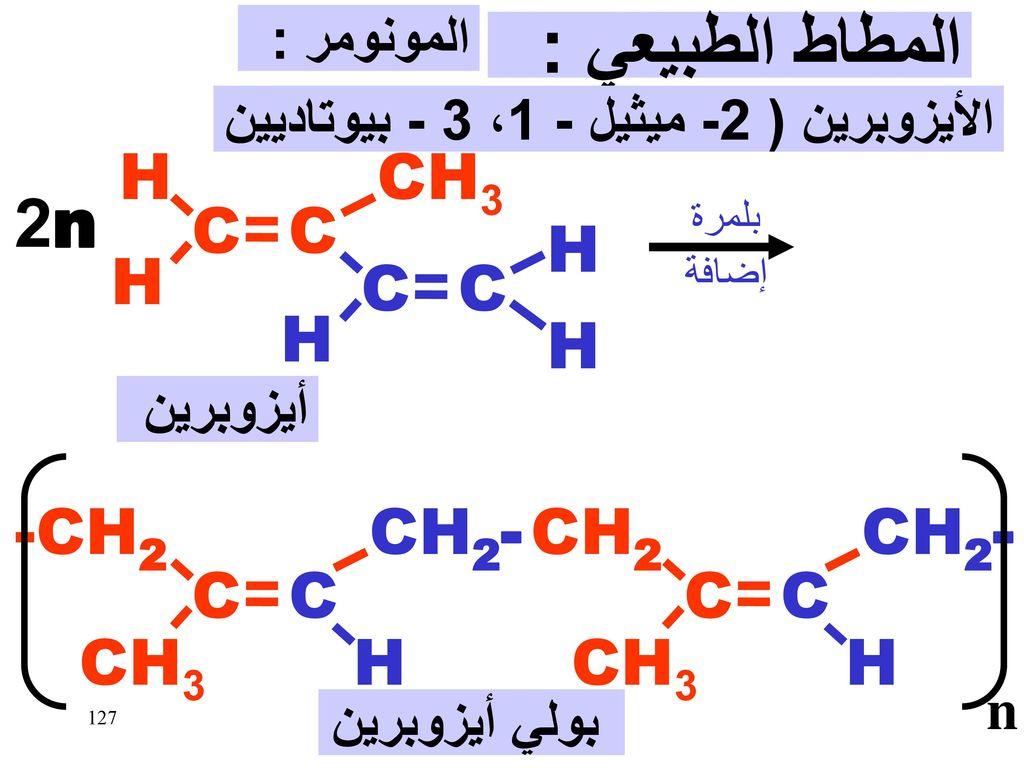 المطاط الطبيعي : 2n C H CH3 C CH2- H CH3 -CH2 CH2 المونومر :