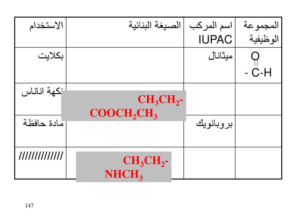 الاستخدام الصيغة البنائية. اسم المركب IUPAC. المجموعة الوظيفية. بكلايت. ميثانال. O. - C-H. نكهة اناناس.