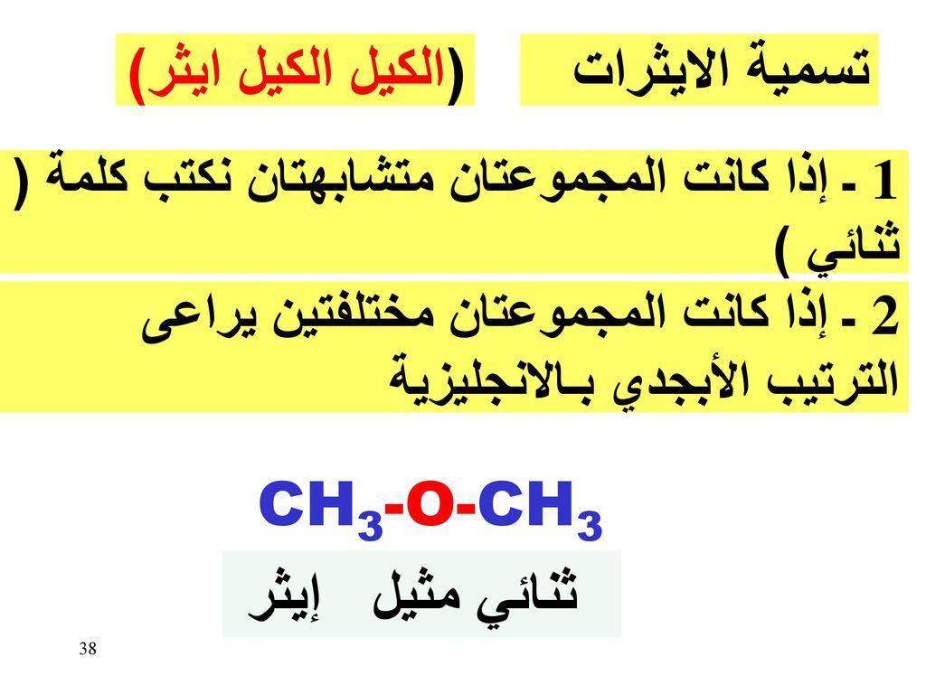 (الكيل الكيل ايثر) تسمية الايثرات CH3-O-CH3 ثنائي مثيل إيثر
