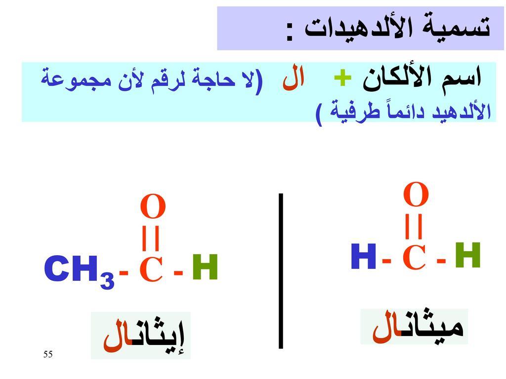 ميثانال إيثانال O O - C - - C - H H CH3 H تسمية الألدهيدات :