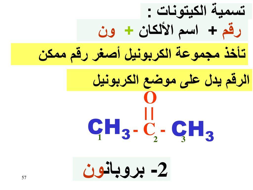 CH3 CH3 2- بروبانون O - C - تسمية الكيتونات : رقم + اسم الألكان + ون