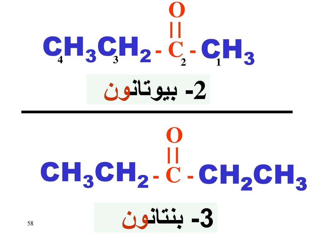 CH3CH2 CH3 2- بيوتانون CH3CH2 CH2CH3 3- بنتانون O - C - O - C - 4 3 2