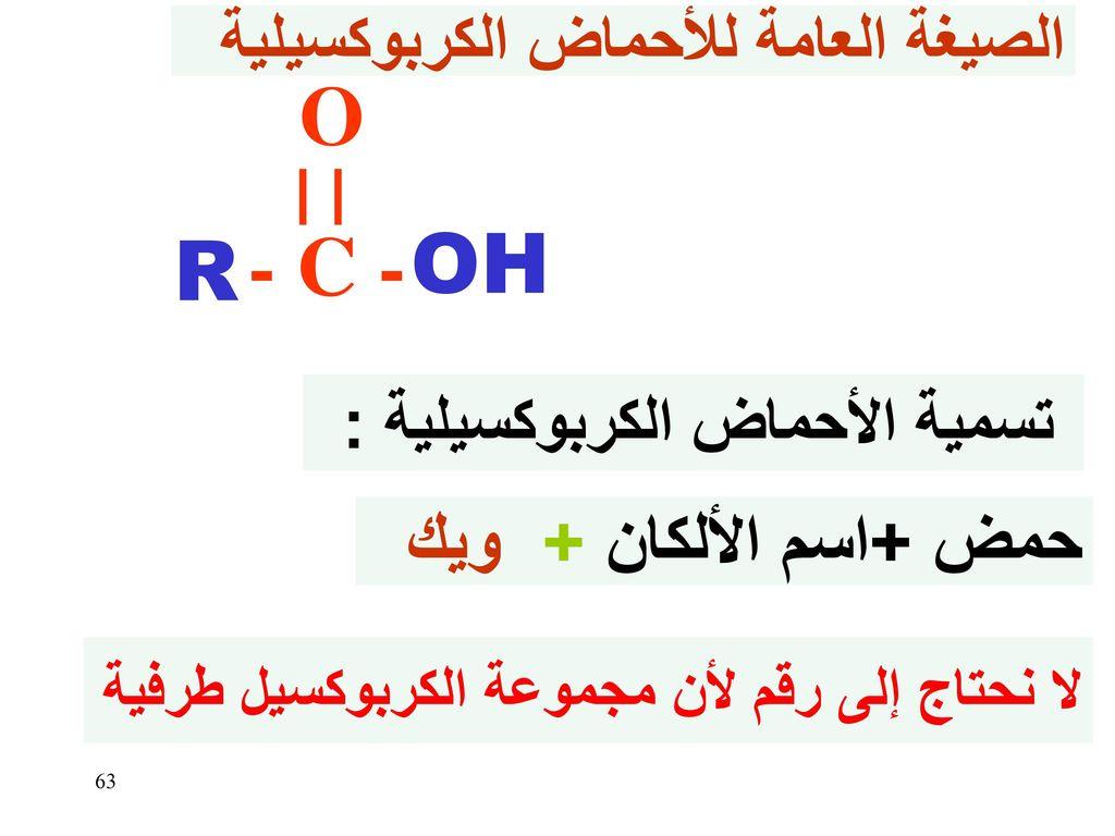 O - C - OH R حمض +اسم الألكان + ويك الصيغة العامة للأحماض الكربوكسيلية