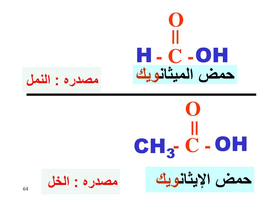 O - C - OH H O - C - OH CH3 حمض الميثانويك حمض الإيثانويك