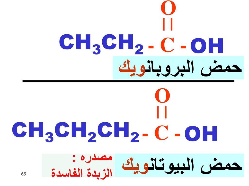 O - C - CH3CH2 OH حمض البروبانويك O - C - CH3CH2CH2 OH حمض البيوتانويك