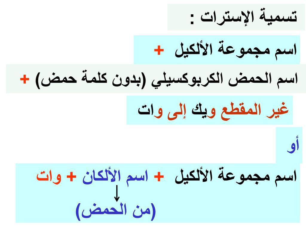 اسم مجموعة الألكيل + اسم الألكان + وات (من الحمض)
