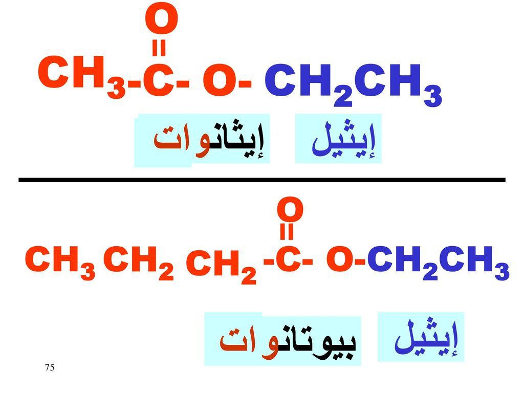 O CH3 -C- O- CH2CH3 ات إيثانو إيثيل يك يك إيثيل ات بيوتانو O CH3 CH2