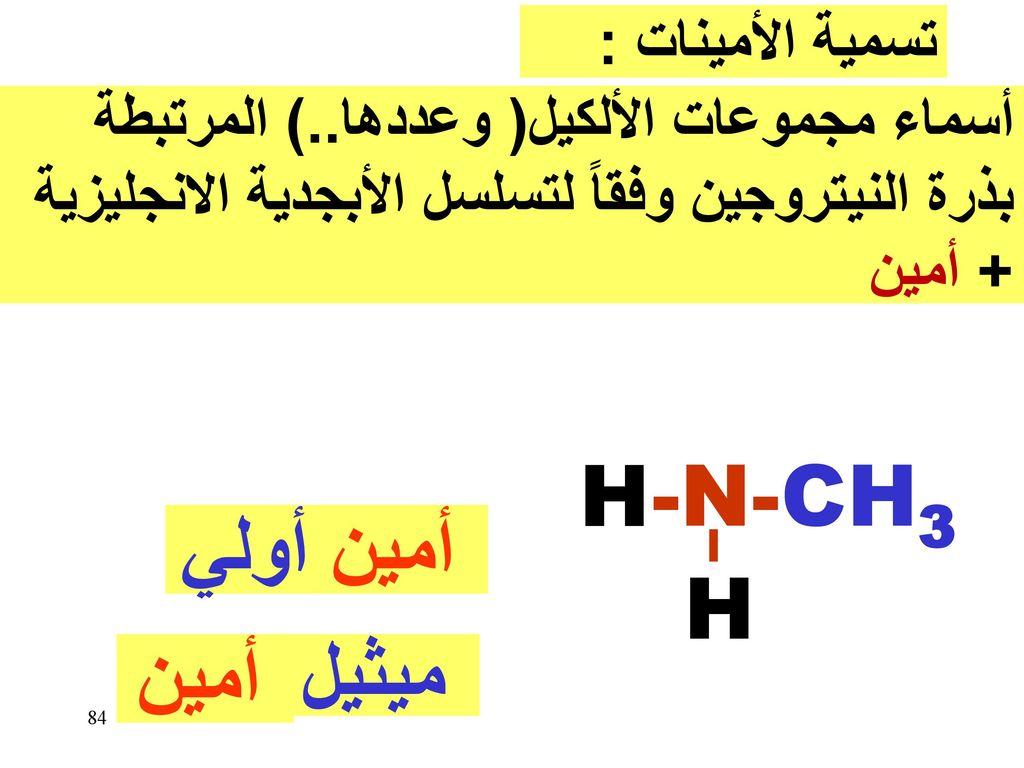 H -N- CH3 أولي أمين H أمين ميثيل تسمية الأمينات :