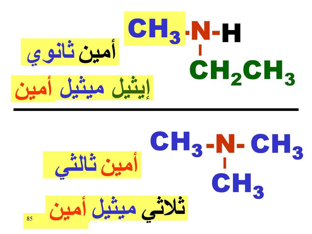 CH3 -N- H ثانوي أمين CH2CH3 أمين ميثيل إيثيل CH3 -N- CH3 ثالثي أمين CH3 أمين ميثيل ثلاثي