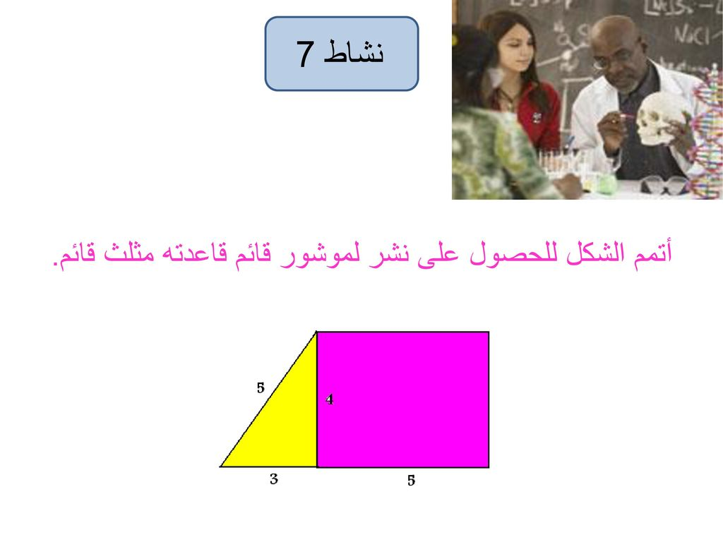 نشاط 7 أتمم الشكل للحصول على نشر لموشور قائم قاعدته مثلث قائم.