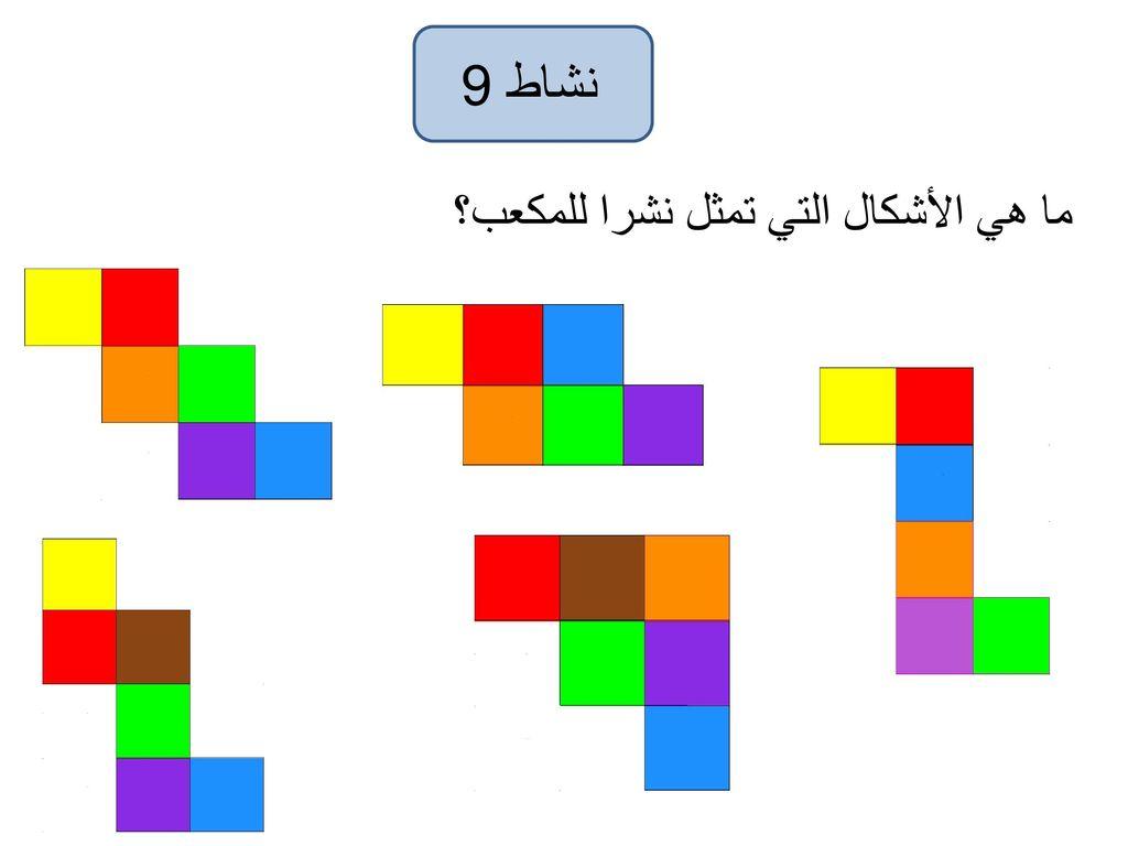 نشاط 9 ما هي الأشكال التي تمثل نشرا للمكعب؟