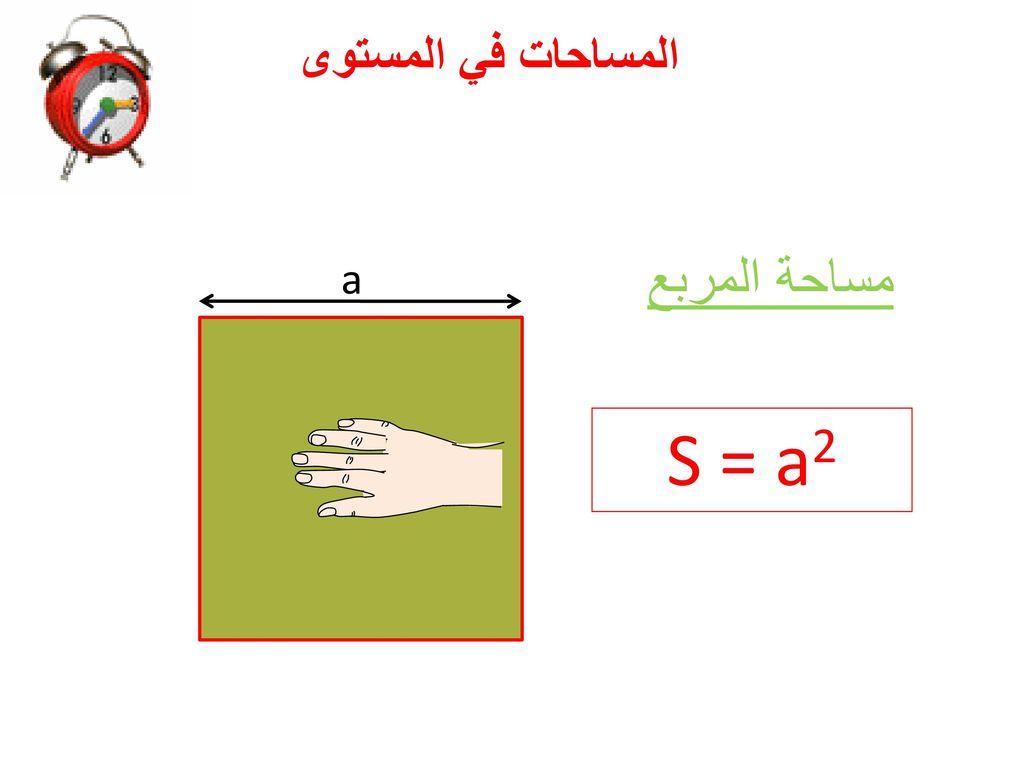 المساحات في المستوى a مساحة المربع S = a2