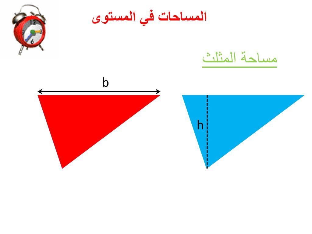 المساحات في المستوى مساحة المثلث b h