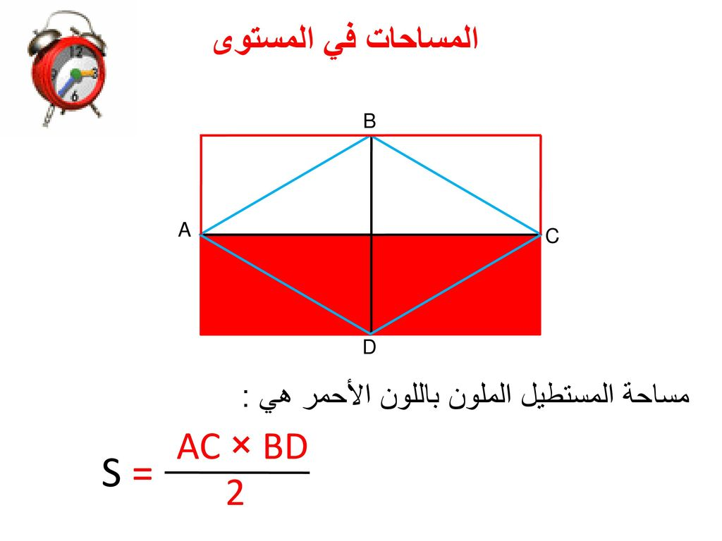 مساحة المستطيل الملون باللون الأحمر هي :