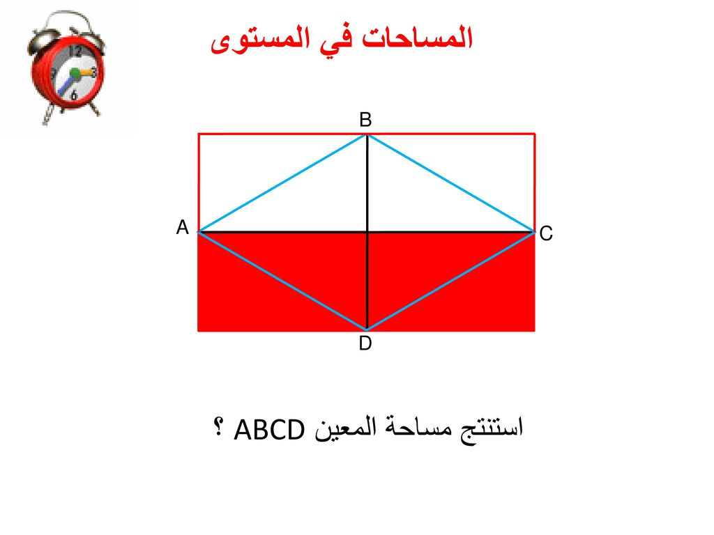 استنتج مساحة المعين ABCD ؟