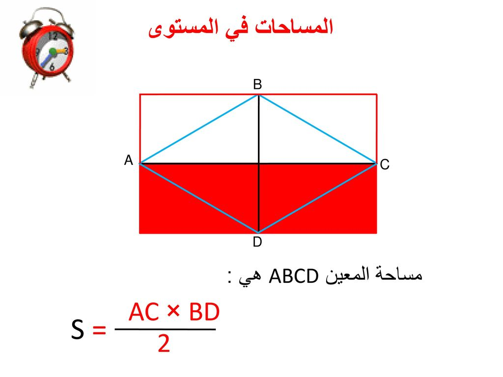 المساحات في المستوى B A C D مساحة المعين ABCD هي : AC × BD S = 2