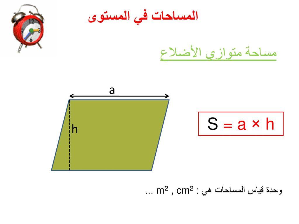S = a × h المساحات في المستوى مساحة متوازي الأضلاع a h