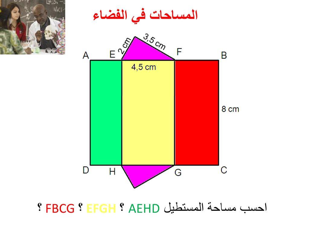 احسب مساحة المستطيل AEHD ؟ EFGH ؟ FBCG ؟