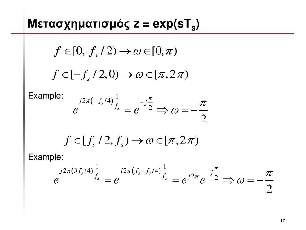 Μετασχηματισμός z = exp(sTs)