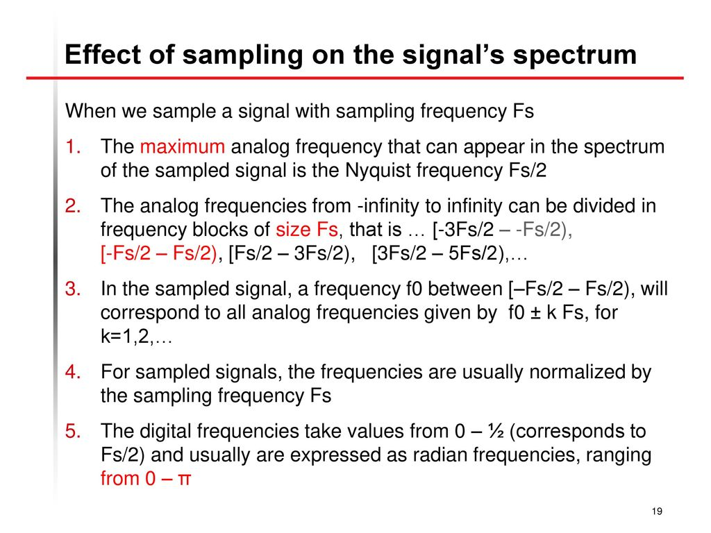 Effect of sampling on the signal's spectrum